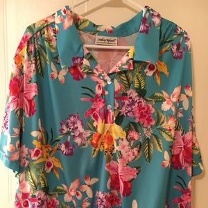 Anthony Richards Women's Floral Shirt 2X Ribbed